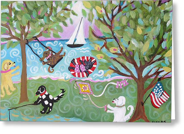 Dog Play Beach Greeting Cards - Dog Park Dog Hangout Greeting Card by Karen Fields