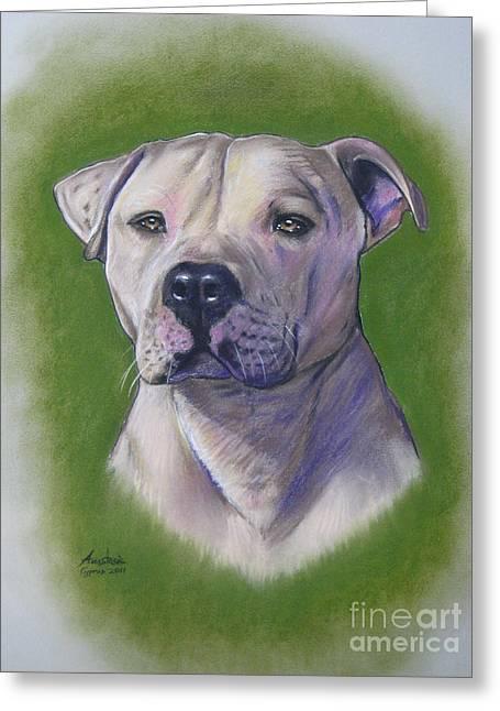 White Dogs Pastels Greeting Cards - Dog portrait Greeting Card by Anastasis  Anastasi