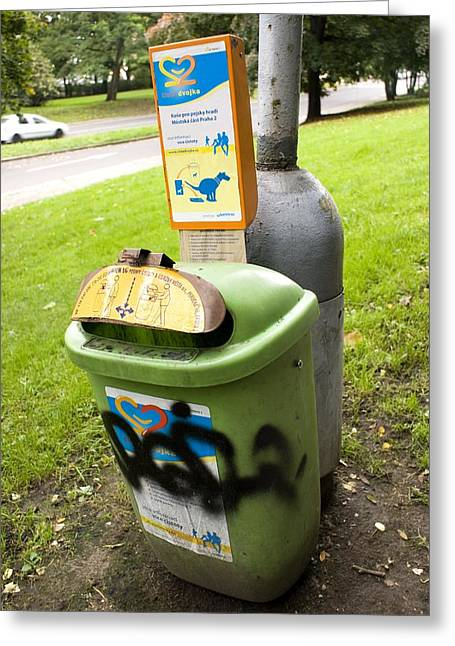 Unclean Greeting Cards - Dog Waste Bin In Prague Greeting Card by Mark Williamson