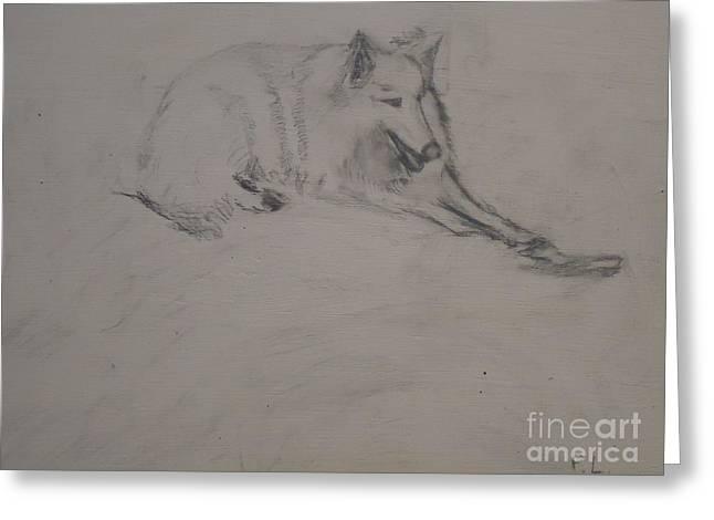 Guard Dog Drawings Greeting Cards - Dog with a Bone Greeting Card by Pauline Landau