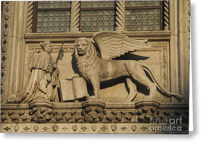 Doge And Lion. Venice Greeting Card by Bernard Jaubert