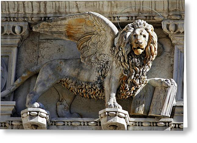 Saint Marc Greeting Cards - Doge s Palace Lion of St Mark Venice Greeting Card by Cedric Darrigrand