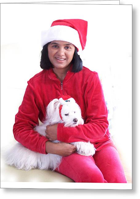 Maltese Greeting Cards - Doggie Christmas Greeting Card by Vijay Sharon Govender