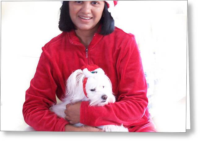 Doggie Christmas Greeting Card by Vijay Sharon Govender