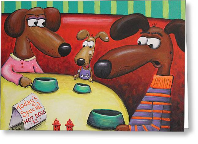 Hotdogs Greeting Cards - Doggie Diner Greeting Card by Jennifer Alvarez