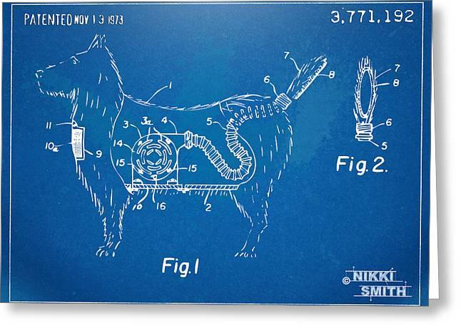 Disguise Greeting Cards - Doggie Vacuum Patent Artwork Greeting Card by Nikki Marie Smith