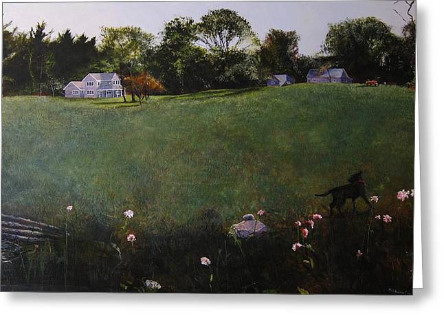 Egg Tempera Paintings Greeting Cards - Doggys World Greeting Card by Rick Hildebrandt