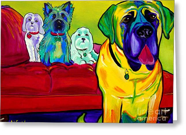 Dogs - Droolers Get The Floor Greeting Card by Alicia VanNoy Call