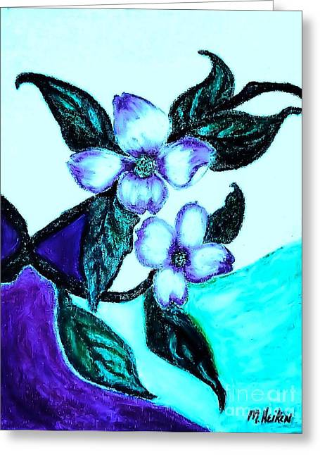 Dark Blue Green Greeting Cards - Dogwood Purple Greeting Card by Marsha Heiken