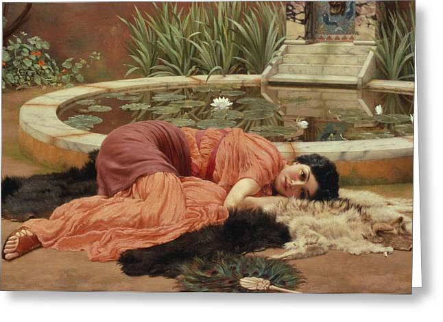 Water Lilly Greeting Cards - Dolce Far Niente Greeting Card by John William Godward