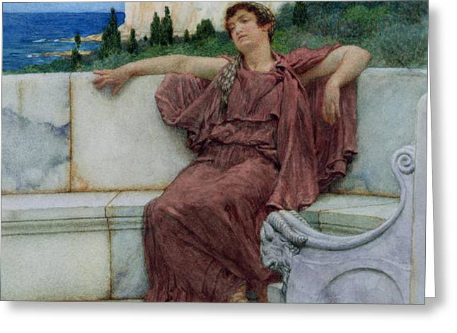 Dolce Far Niente Greeting Card by Sir Lawrence Alma-Tadema