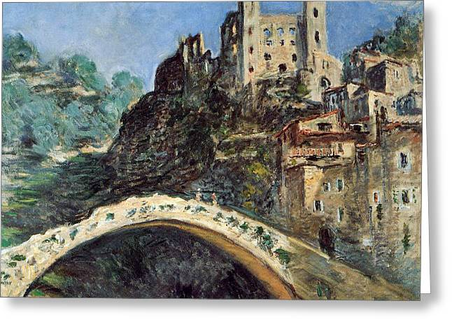 Italian Landscapes Greeting Cards - Dolceacqua Greeting Card by Claude Monet