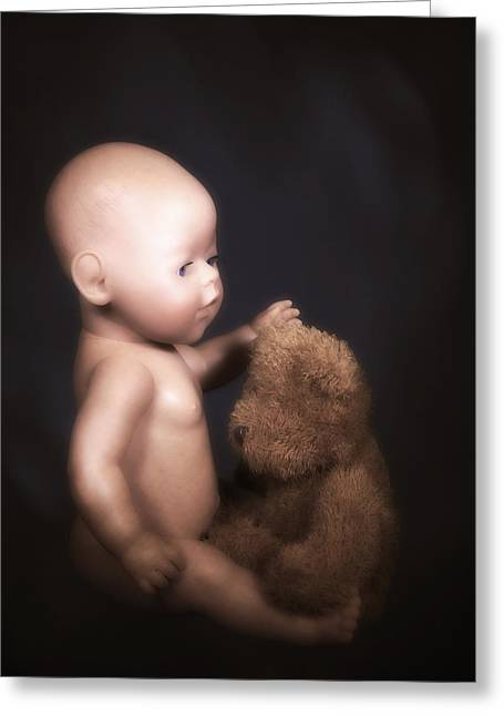 Black Teddy Greeting Cards - Doll And Bear Greeting Card by Joana Kruse