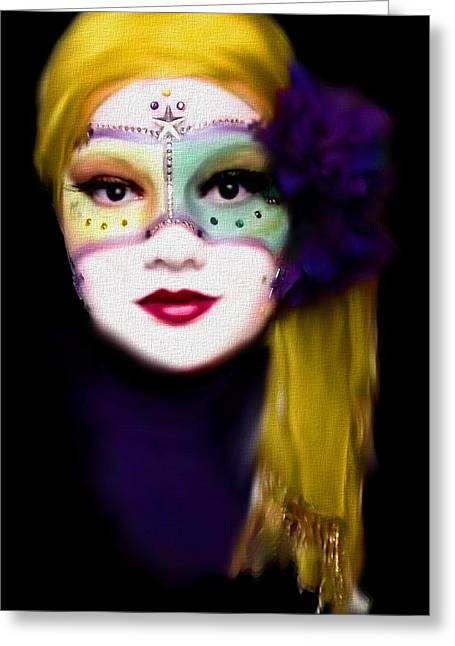 Gold Trim Greeting Cards - Doll Faced Mask Greeting Card by Scarlett Royal