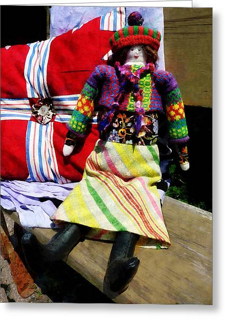 Hat Greeting Cards - Doll in Colorful Outfit Greeting Card by Susan Savad