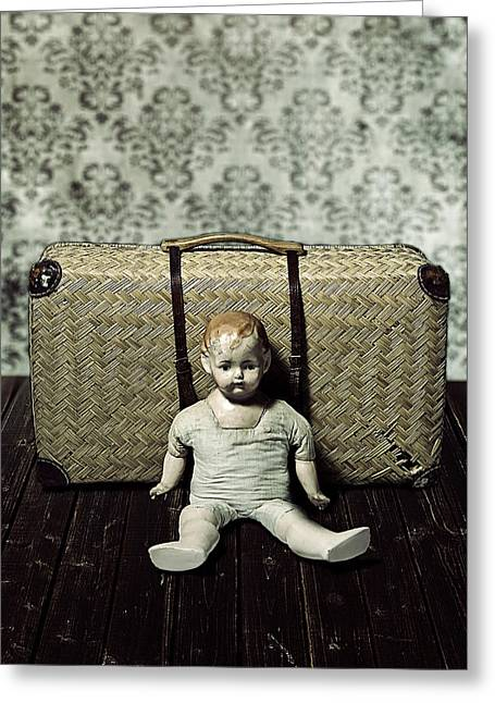 Departure Greeting Cards - Doll With A Suitcase Greeting Card by Joana Kruse