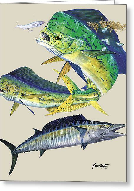 Wahoo Greeting Cards - Dolphin and Wahoo Greeting Card by Kevin Brant