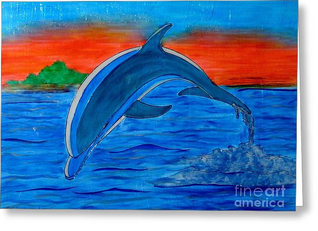 Dolphin Glass Art Greeting Cards - Dolphin Greeting Card by Betta Artusi