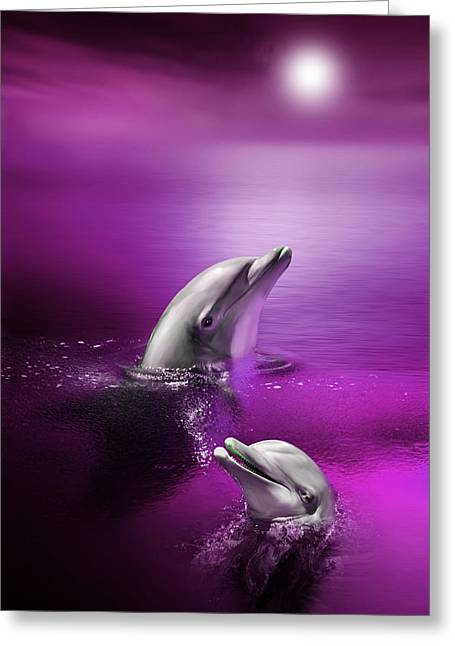 Dolphin Greeting Cards - Dolphin Delights Greeting Card by Julie L Hoddinott