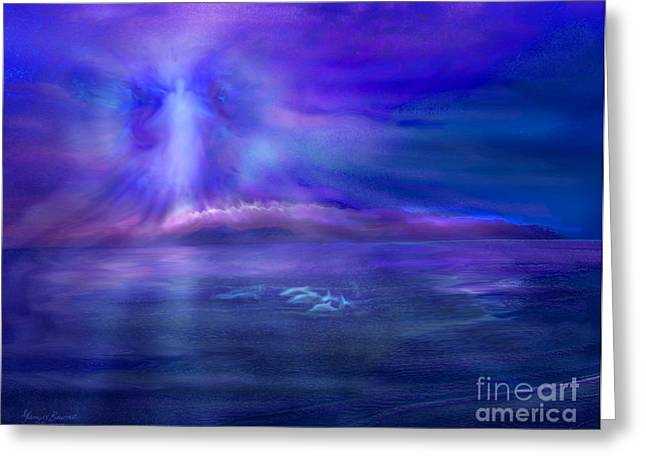 Night Angel Greeting Cards - Dolphin Dreaming Greeting Card by Glenyss Bourne