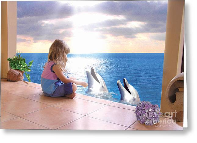Bobbies Greeting Cards - Dolphin Family Greeting Card by Bobbie S Richardson