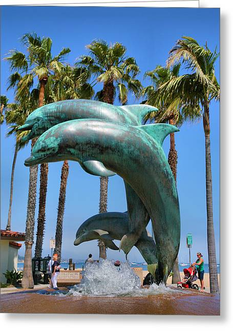 Pacific Ocean Prints Greeting Cards - Dolphin Fountain Greeting Card by Steven Ainsworth