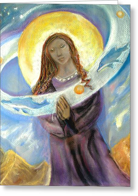 Virgin Pastels Greeting Cards - Dolphin Madonna Greeting Card by Ginna Viveros