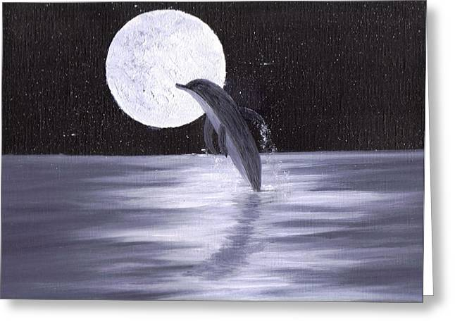 Stary Sky Greeting Cards - Dolphin Moon Greeting Card by Jim Saltis