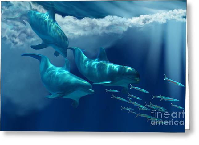 Ocean Mammals Greeting Cards - Dolphin World Greeting Card by Corey Ford