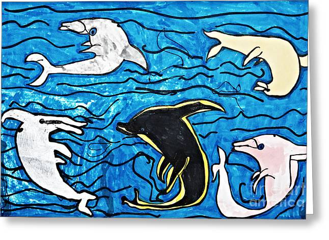 Ocean Mammals Drawings Greeting Cards - Dolphins Ballet Greeting Card by Stephanie Ward