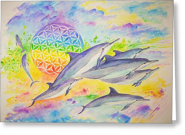 Liberation Greeting Cards - Dolphins-Color Greeting Card by Tamara Tavernier