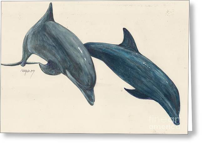 Sea Animals Mixed Media Greeting Cards - Dolphins Greeting Card by Morgan Fitzsimons