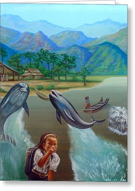 Schoolgirl Paintings Greeting Cards - Dolphins saying goodbye Greeting Card by Simon Drost