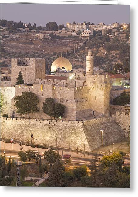 Dome Of The Rock With Tower Of David Greeting Card by Richard Nowitz
