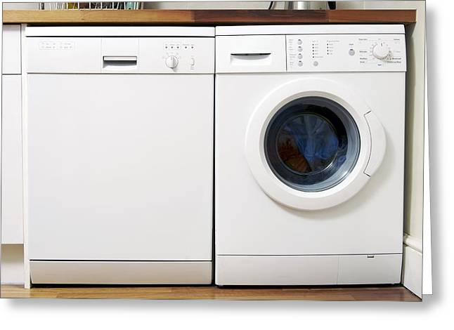 Washing Machine Greeting Cards - Domestic Dishwasher And Washing Machine Greeting Card by Johnny Greig