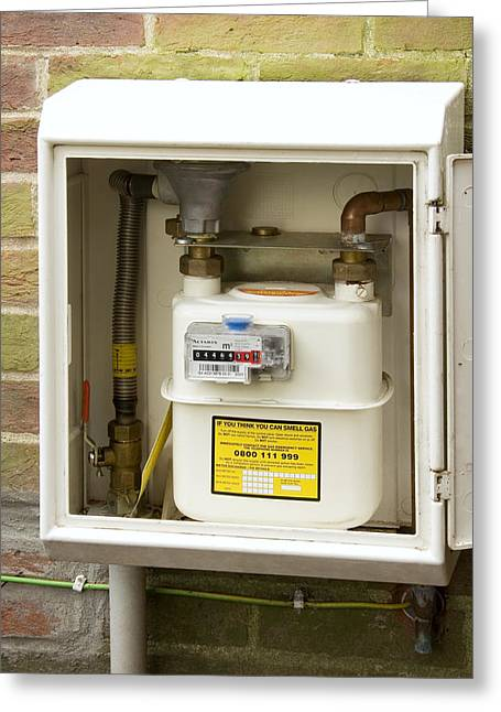 Gas Meter Greeting Cards - Domestic Gas Meter Greeting Card by Sheila Terry