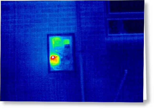Gas Meter Greeting Cards - Domestic Gas Meter, Thermogram Greeting Card by Tony Mcconnell