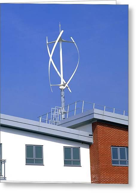 Milton Keynes Greeting Cards - Domestic Micro Wind Turbine Greeting Card by Martin Bond