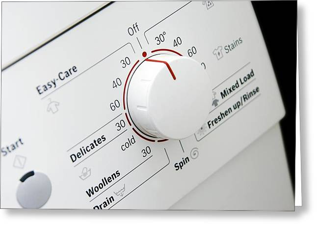 Washing Machine Greeting Cards - Domestic Washing Machine Dial Greeting Card by Johnny Greig