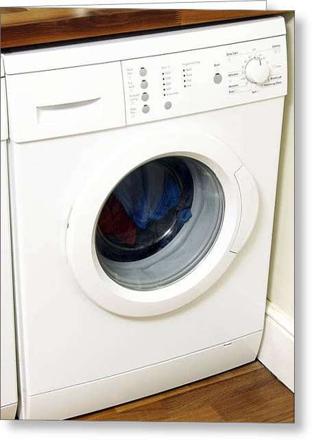 Washing Machine Greeting Cards - Domestic Washing Machine Greeting Card by Johnny Greig