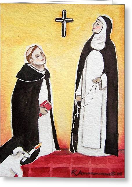 Saint Dominic Greeting Cards - Dominic and Catherine Greeting Card by Regina Ammerman
