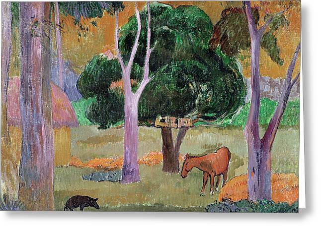 Dominican Landscape Greeting Card by Paul Gauguin