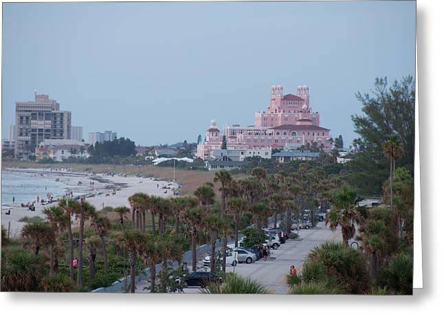 St Petersburg Florida Greeting Cards - Don Cesar Hotel St Pete Beach Florida Greeting Card by John Black