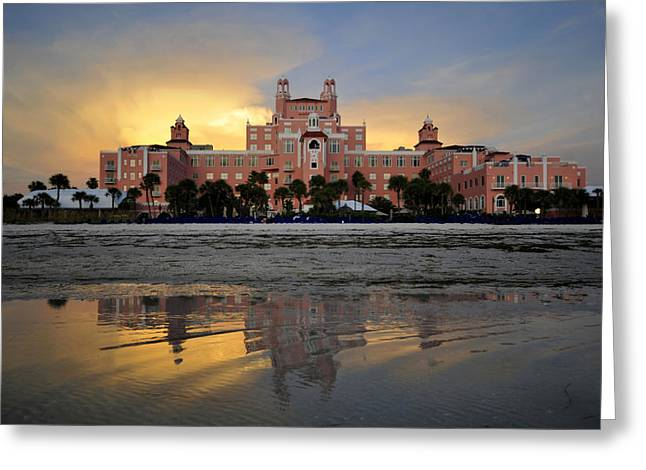 Pink Sunset Greeting Cards - Don Cesar reflection Greeting Card by David Lee Thompson