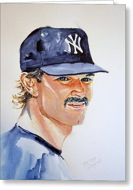 Donnie Baseball. Greeting Cards - Don Mattingly Greeting Card by Brian Degnon