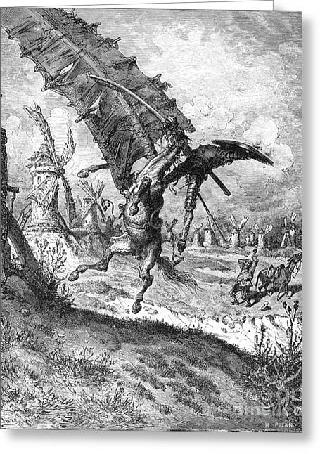 Dore Greeting Cards - Don Quixote And Windmill Greeting Card by Granger