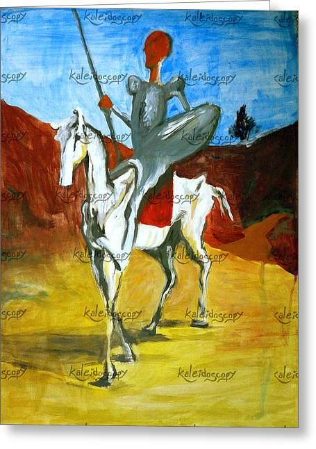 Chevalier Paintings Greeting Cards - Don Quixote Honore Daumier replica Greeting Card by Cranta Crina