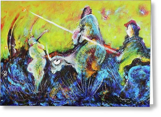 Sancho Panza Greeting Cards - Don Quixotte Greeting Card by Ion vincent DAnu
