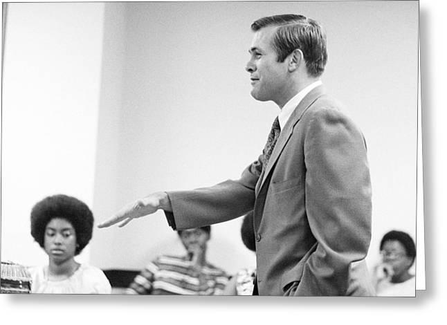 Congressman Photographs Greeting Cards - Donald Rumsfeld Greeting Card by Jan Faul