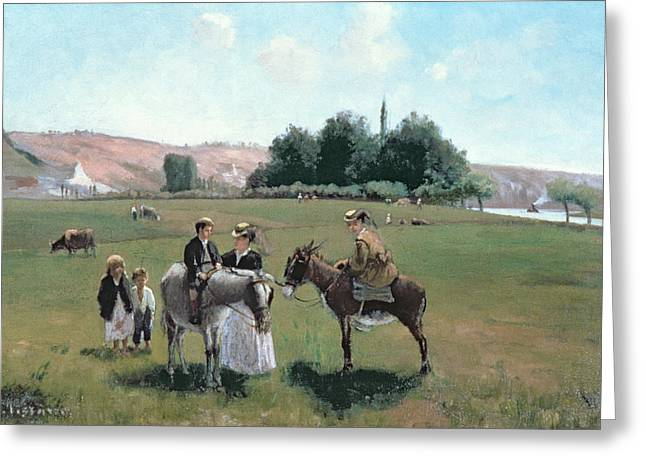 Signature Greeting Cards - Donkey Ride Greeting Card by Camille Pissarro